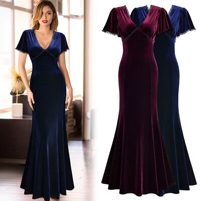 Women's Retro Deep V Neck Pleuche Bridesmaid Wedding Party Cocktail Maxi Dress