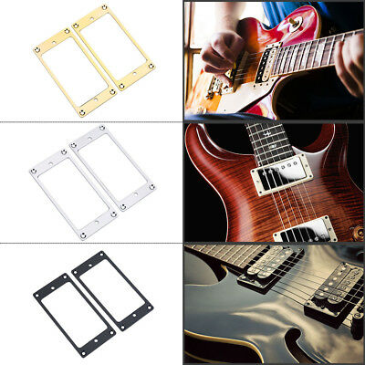 2Pcs Metal Humbucker Pickup Frame Mounting Rings/Flat Bottom for Electric Guitar
