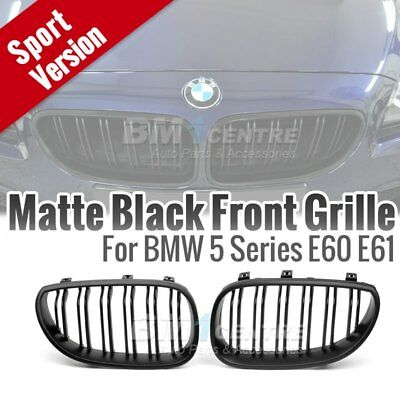 Matte Black Dual 2 Fin Kidney Front Mesh Grille for BMW 5 SERIES E60 2003-2009
