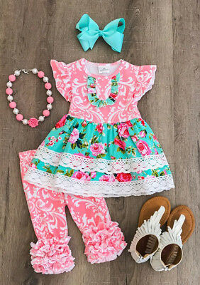 US Stock Kids Girl Baby Girls Flower Dress Trousers Pants 2Pcs Outfits Sets