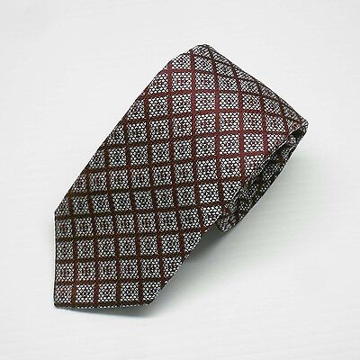 NWT Battisti Napoli Tie Burgundy with textured check pattern Made in Italy