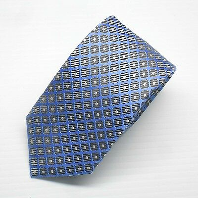 NWT Battisti Napoli Tie Blue with Gray squares and White dots Made in Italy