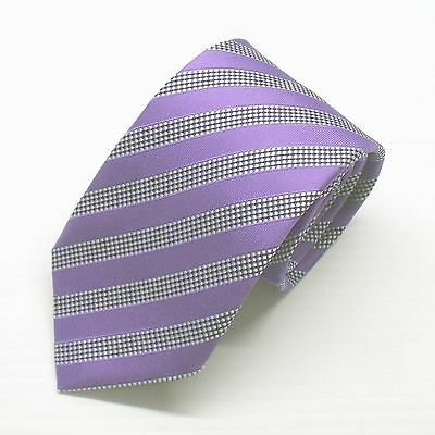 NWT Battisti Napoli Tie Lavender with White Blue Stripes Made in Italy