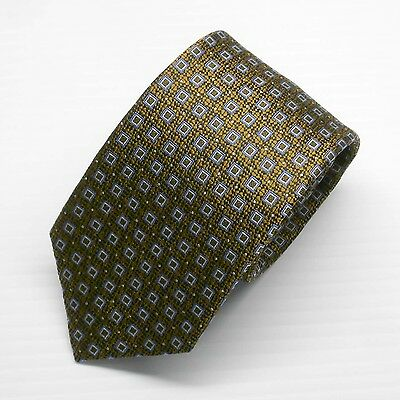 NWT Battisti Napoli Tie in Brown with Blue Squared Pattern Made in Italy