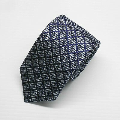 NWT Battisti Napoli Tie Blue with diamond check pattern Made in Italy