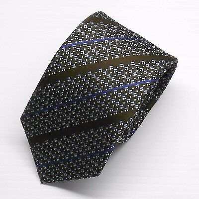 NWT Battisti Napoli Tie in Brown with Blue Stripes on Geometric Pattern