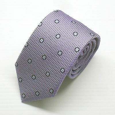 NWT Battisti Napoli Tie Lavender with White and Blue Flower Made in Italy