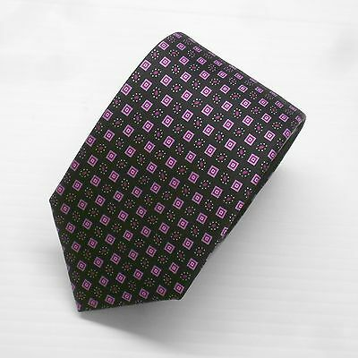 NWT Brioni Tie with Black, Purple and Violet Geometric 100% Silk Made in Italy