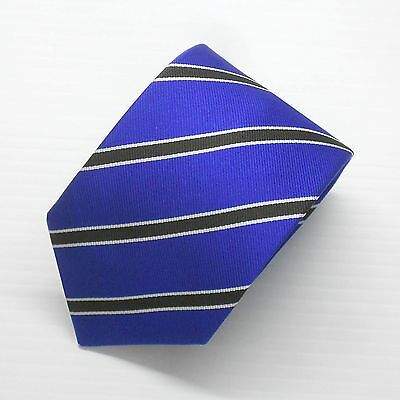 NWT Battisti Napoli Tie Royal Blue w/ Black Stripes 100% Silk Made in Italy