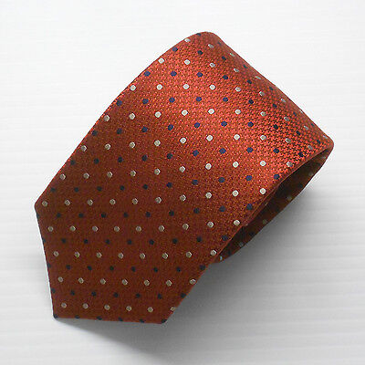 NWT Battisti Napoli Tie Red with Navy and White polka dots Made in Italy