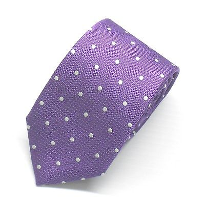 NWT Battisti Napoli Tie Purple with White Polka Dots100% Silk Made in Italy