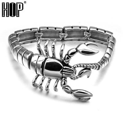 HIP Punk Gothic Scorpion Men's Chain Bracelet Bangle Silver Plated Stainless Tit