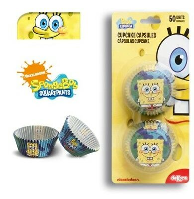 50 Pirottini Spongebob Cupcake Muffin In Carta Da Forno Cake Bob Party Cupcakes