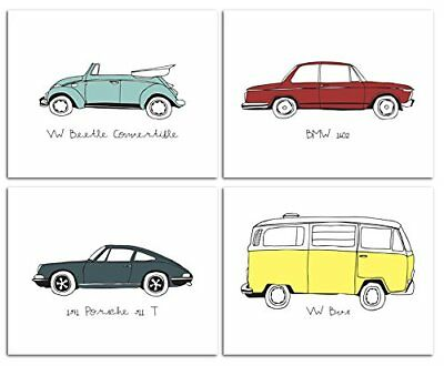 "8""x10"" Vintage Cars Nursery Prints for Baby and Children Room Decor &"