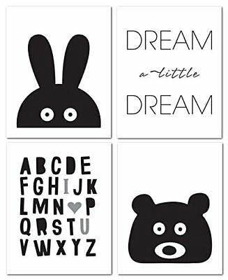 "8""x10"" Black and White Nursery Prints for Baby and Children Room Decor &"