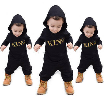 AU Newborn Baby Boys King Infant Romper Jumpsuit Bodysuit Hooded Clothes Outfit