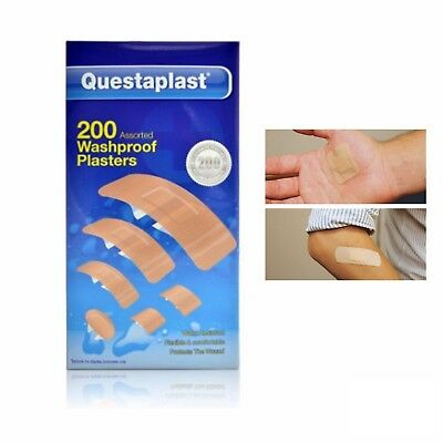 200 Washproof Waterproof Plasters Assorted Water Resistant First Aid Band Aid