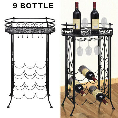 9 Bottle Metal Wine Rack Wine Storage Cabinet Stand Holder Home Bar Organiser