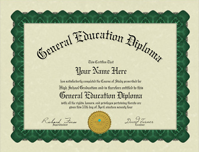 Fun Fake Bordered GED Diploma with Gold seal for all occasions