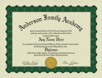 Fun Fake Bordered High School Diploma with Gold Seal for all occasions