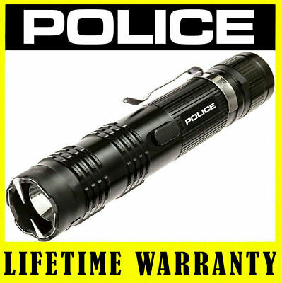 POLICE Stun Gun M12 78BV Metal Rechargeable LED Flashlight With Taser Case Black