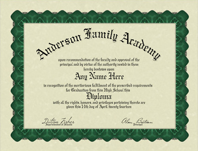 Fun Fake Bordered High or Home School Diploma for all occasions