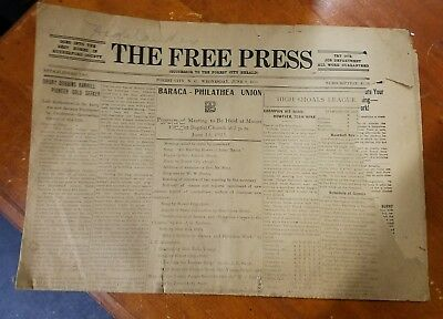"""Vintage Fold Out June 9, 1915 Forest City N.C. Newspaper """"The Free Press"""""""
