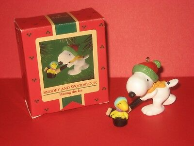 1985 Hallmark Snoopy and Woodstock Hitting the Ice Peanuts Gang United Feature