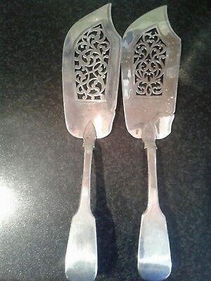 Very  Rare Pair Of Antique Solid Sterling Silver Fish Slice 1845