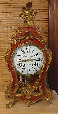 Antique Louis XV, Vernis Martin Style French Shelf Clock by Balthazard Ca. 1860