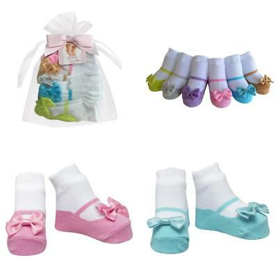 Baby Emporio-6 Pr-Baby Girl Socks that look like Shoes-Cotton-Gift Pouch