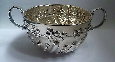 Victorian Ornate English Sterling Silver Porringer by William Hutton & Sons 1899