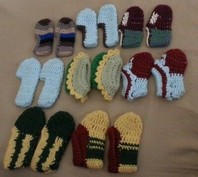 SLIPPERS KIDS BABY HAND KNIT SLIPPER SOCKS  MIXED SIZES NEW  8 pairs