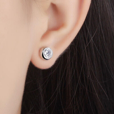 Hot Fashion jewelry 925 sterling silver earrings Round Inlaid zircon Earrings