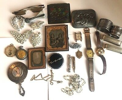 Antique Art Deco Victorian Vintage Jewelry Junk Drawer Lot Sterling Watches