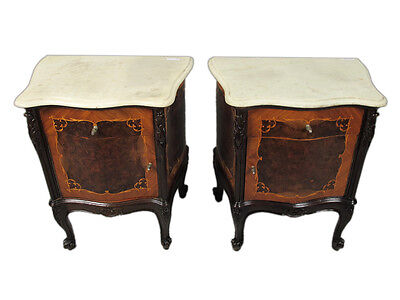 Great Pair of French Louis XV Nightstands Marble Tops # 11332