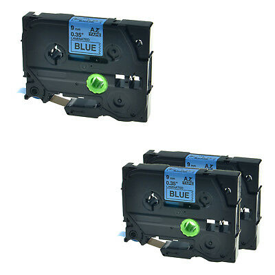 """3PK TZ-521 TZe-521 3/8"""" Black on Blue Lable Tape For Brother P-touch 2730 2730VP"""