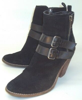 13fa3ff0687c Dolce Vita Wos Boots Ankle US7.5 Black Suede Double Zip Buckle Heels Casual  2131