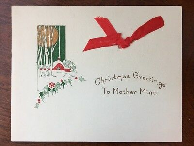 arts and crafts antique Christmas Greeting To Mother. D1