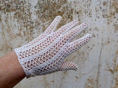 1910/1920s Victorian /Edwardian French white cotton crochet handmade gloves