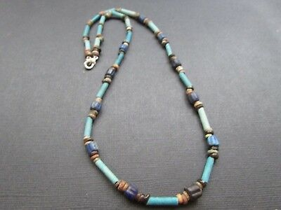 NILE  Ancient Egyptian  Lapis Faience Amulet Mummy Bead Necklace ca 1000 BC
