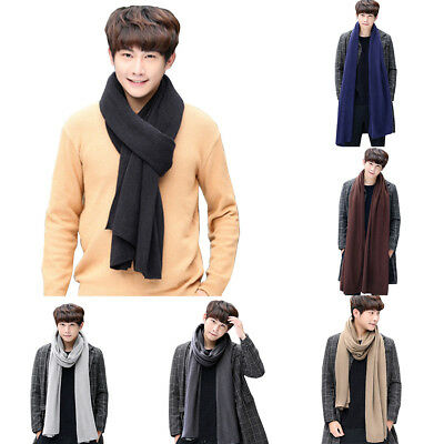 LC_ Simple Fashion Solid Color Men Knitting Long Soft Warm Scarf Neck Wrap Gif