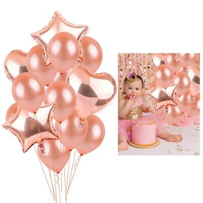 Rose Gold Foil Balloon Set Confetti Happy Birthday Supply Wedding Party Decor