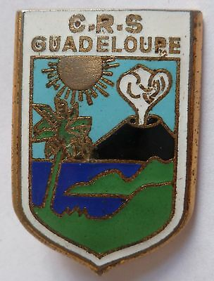 Insigne POLICE OBSOLÈTE CRS GUADELOUPE émail 1960 ORIGINAL DRAGO FRENCH BADGE