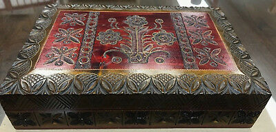Antique/Vintage German Black Forest Hand Carved Wooden Box Brass Inlay Gold Trim
