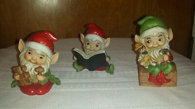 Vtg Set Of 3 Homco Santas Elf Elves Toy Workshop