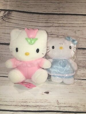"""RARE Sanrio HELLO KITTY Pink Tulip, Blue with Angel Wings, With Tags, 8"""""""