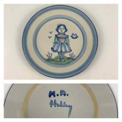 """M.A. Hadley Blue Girl Country Scene 8 3/4"""" Salad Dessert Plate Pottery Wife Lady"""