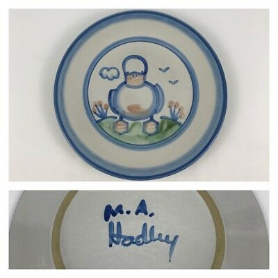 """M.A. Hadley Blue Duck Country Scene 8 3/4"""" Salad Dessert Plate Pottery"""