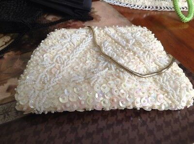 White vintage evening  bag by Goldco